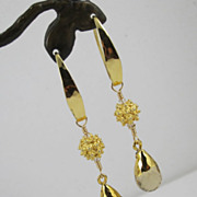 REDUCED Earrings ~ SKY ROCKETS ~ Gold Leaf, Citrine, Vermeil, Bronze