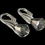 Leverback Drop Earrings ~ SATIN RAIN ~ Swarovski Crystal, Sterling Silver Leverbacks
