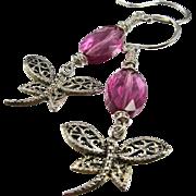 Drop Earrings ~ SWAMP DIVAS ~ Swarovski Crystal, Sterling Silver