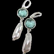 Earrings ~ TIDEPOOL DANCERS ~ Teal Quartz, Biwa Pearls, Sterling Silver