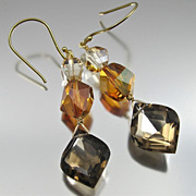 REDUCED Earrings ~ AMBER LIGHTS ~ Smoky Quartz & Swarovski Crystals