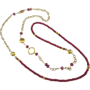 Asymmetric Necklace ~ FLIGHT OF RUBIES ~  Rubies, Vermeil, Gold-Fill