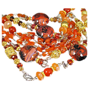 Body Necklace~ CRIMSON QUEEN ~ Artisan Lampwork, Carnelian, Peach Moonstone, Fire Agate, Sterl