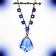 Czech Necklace – Art Deco – Blue Crystal – Signed