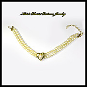 Richelieu faux Pearl Double Strand with Heart Pendant Necklace