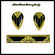 Pierre Bex Pin and Earrings – Art Deco style – 1970s – French