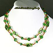 Vendome Necklace – Art Glass – Green, Black, Orange – 60s – Mad Men