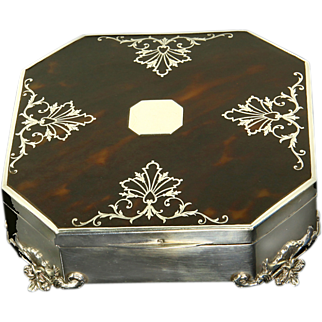 SALE Antique Sterling Silver & Tortoiseshell Box Mappin & Webb Sheffield 1893