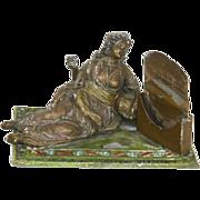 SALE Antique Orientalist German Metal Match Holder Vesta – Harem Female Figural – Victoria