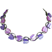 Lisner Leaf Necklace-Moonglow Thermoset-2 Tone Purple