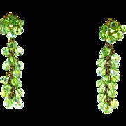 Crystal Dangle Earrings – Shoulder Hugger – Peridot Green