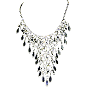 Dangling Bezel Set Crystal & Rhinestone Waterfall Necklace