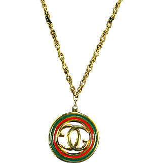 G. Gucci signed Italy Enamel Pendant/Necklace – Interlocking Double 'G' Logo – 1970s