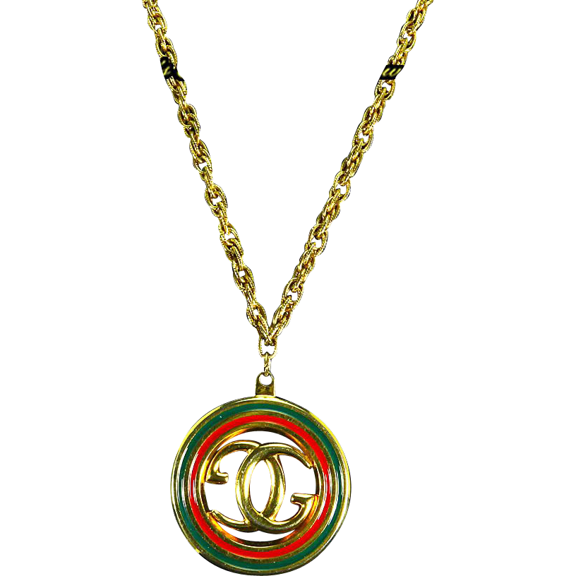 G. Gucci signed Italy Enamel Pendant/Necklace – Interlocking Double from katesclassiccostume on ...