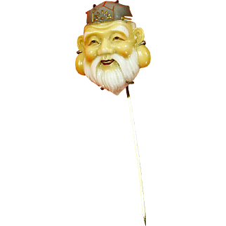 Vintage Toshikane Arita Porcelain Stick Pin – Japan – God of Fortune