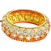 Bling Bangle Bracelet – Rhinestone Encrusted – Wide & Hinged – Cross Design
