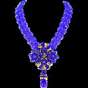 Stanley Hagler Ian St. Gielar Signed Royal Blue Bead & Gilt Necklace