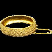 Vintage signed Napier Pebbled Gold Plate Hinged Bangle Bracelet – 60s