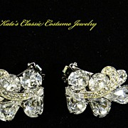 Weiss Rhinestone Earrings with Icing -- 50s