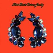 Juliana Delizza & Elster style Blue Ear Climber Earrings