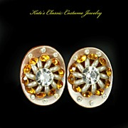 Pearlized Lucite Earrings -- Topaz Rhinestones & Faux Pearls --Fab 50s