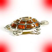 Turtle Figural Pin/Brooch -- Lucite & Rhinestones