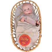 Bisque Our Pet Doll in Original Baby Bunting Presentation c.1925