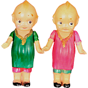 """Pair of Celluloid Kewpies With Molded Clothing 3"""" tall"""