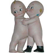 """Vintage Bisque 3.5"""" Rose O'Neill KEWPIE Huggers With Black Boots"""