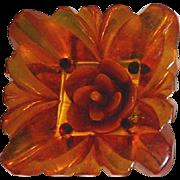 Vintage Large BAKELITE BUTTON ~ Amber Square W/ Carved Flower