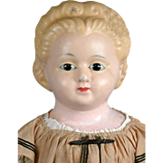 "SOLD ~1/2 PRICE~HUGE 31"" ""Pumpkin Head"" Girl on Cloth Body, c 1860, with ALL AN"