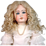 SOLD Extraordinarily Voluminous Hand Tied Platinum Blond Mohair Wig with Original Ringlets For