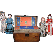 SALE Remarkable Napolean III Era Solid Pine Trunk With Square Nails and Decoupage For French .