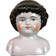 Fabulous & Rare 1860 Highland Mary Antique China Head w/Deep Curls & EXCELLENT Painting of Features