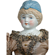 "An Outstanding 15"" Bonnet Head Parian Lady by Hertwig In Superb Original Silk Gown!"