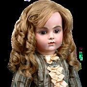 SOLD Singular Original C. 1890 French Human Hair Wig For Bebe~ Honey Blond with Caramel Lowlig