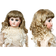 SOLD Exquisite Antique Gold-Platinum Mohair Wig for German/French Bisque Doll c.1890 -- The Pe