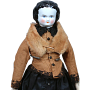 """SALE Petite Elegant Lady 13.5"""" Antique China Doll w/Fabulous Fur Stole"""
