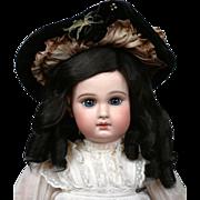 "SOLD Original Size 10 Jumeau Human Hair Wig In Ebony (10-11"" Circumference)"