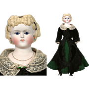"""Outstanding 20"""" Glass Eyed Parian/Tinted Bisque in Superb Antique Lady's Costume C. 1868"""