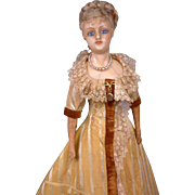 "Singular 26"" German Reinforced Wax Fashion Doll C. 1858-62 In Original Silk Gown"
