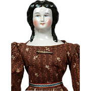 "14"" Smiling China Lady All Original With Snood, Bun & Long Curls C. 1852-58"