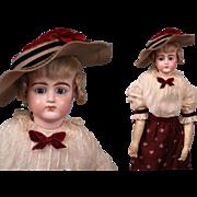 """LARGE 19"""" Jumeau All Antique Portrait Fashion Poupee Lady 1890 With 18pc Trousseau"""