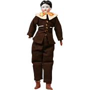"Charming 15"" Antique China Boy w/Original Body and Leather Arms, with Cute Costume & Presentation"