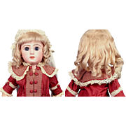 SOLD Fabulous Hand Tied Light Blond Mohair Wig With Delicate Curls C. 1892 Fits Size 9 Jumeau