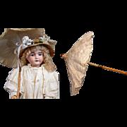 Gorgeous Antique Parasol c.1895-1905 Cotton & Silk Canopy w/Maple Wood Handle Excellent ...