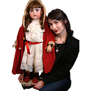 "Huge 33"" Jumeau Bebe In Classic Antique Costume~Near Mint Body!"