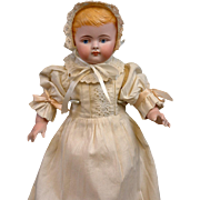 """SALE UNCOMMON 13"""" Large All Bisque Antique Baby Doll w/Bent Limbs & Antique Costume"""