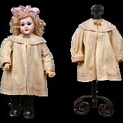 Exquisite c.1895 Antique Super-Fine Homespun Wool Coat w/Silk Velvet Trimming for ~18 ...