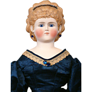 "Regal 26"" Glass Eyed Tinted Bisque Lady With Crystal Diadem and Original Silk Ballgown"